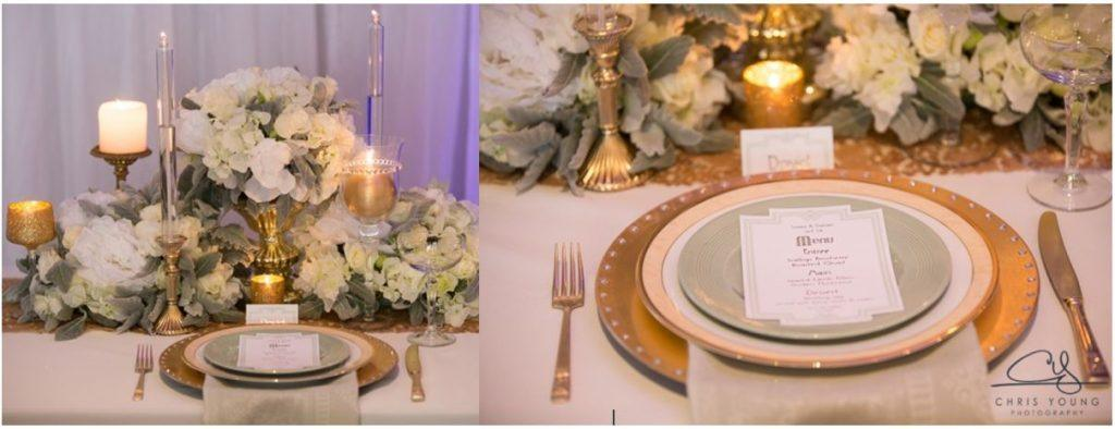 Great Gatsby centerpiece wedding mint gold event Avenue Tasmanian wedding decor styling