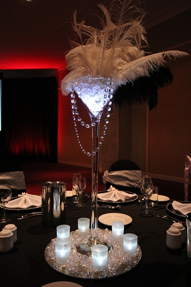 Gatsby theme ostrich feather tall centerpiece martini vase