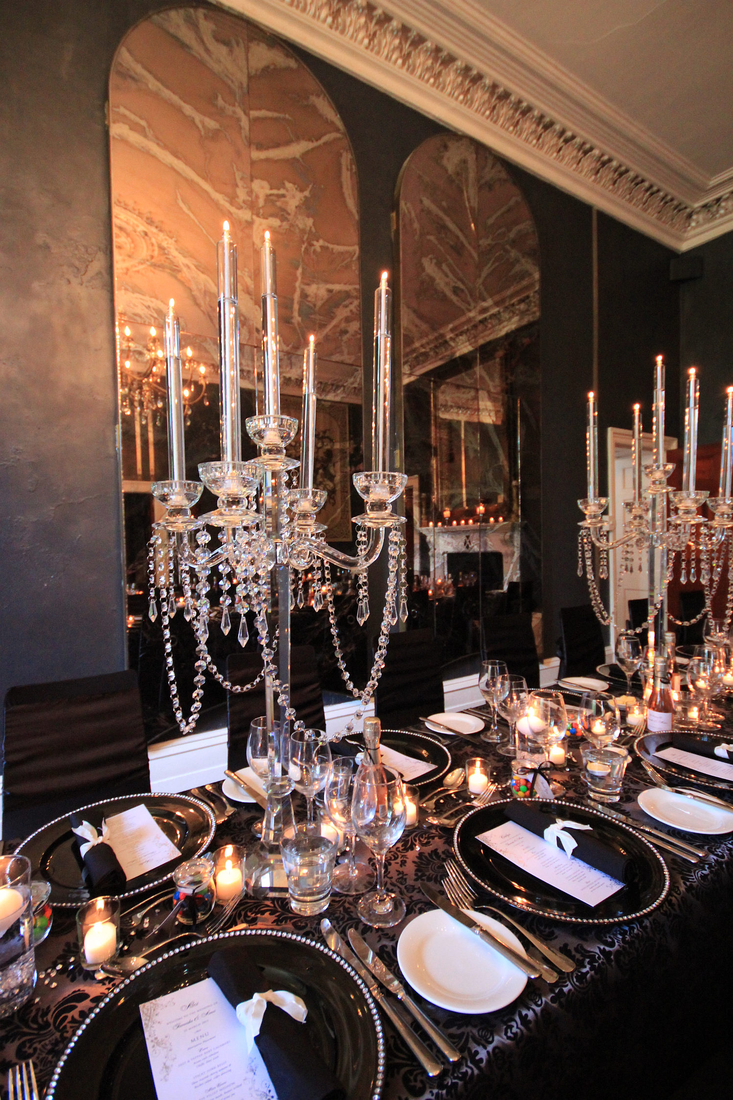 Quamby wedding crystal candelabra centerpiece event avenue launceston wedding styling