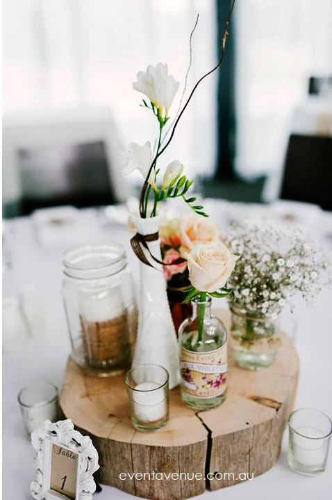 Rustic wood slice wedding centerpiece decoration