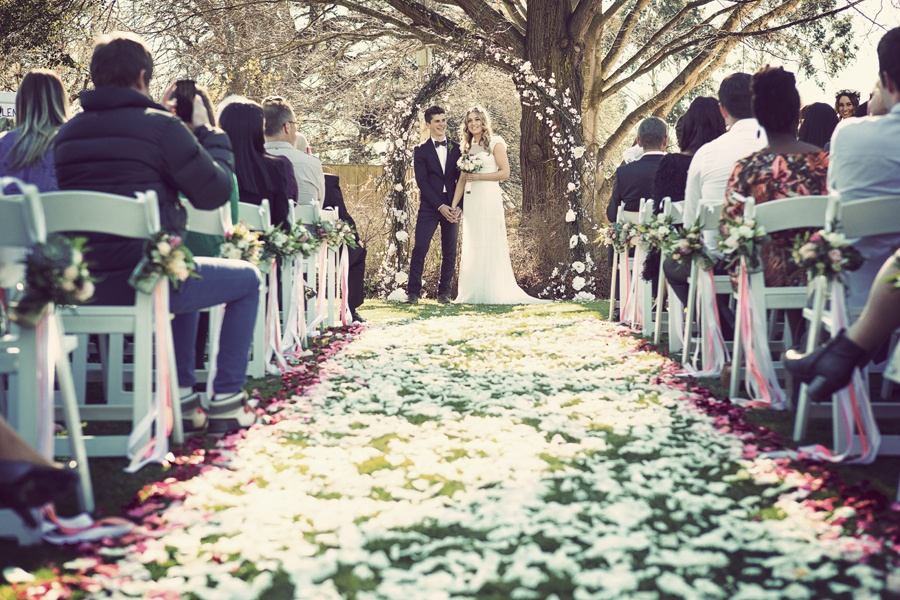 Aisle Petals pew jars Wedding ideas Ceremony Launceston Brickendon Tasmania Event Avenue
