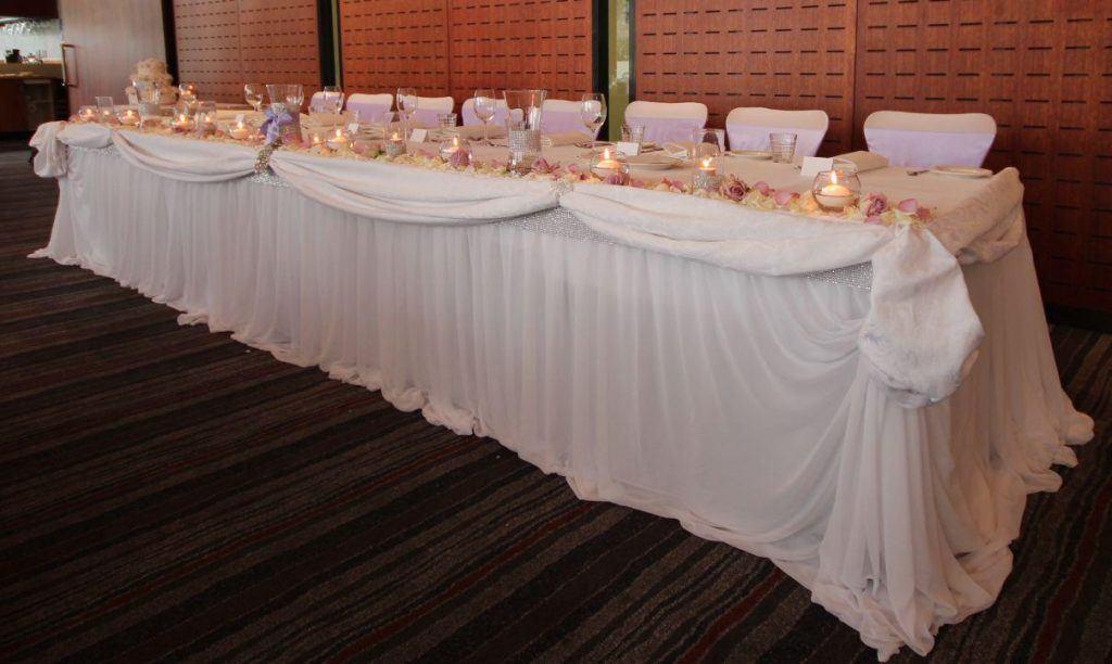Bridal Table swagging Cataract Bistro Wedding event avenue launceston