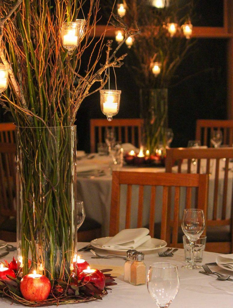 Rustic willow tall centerpiece hanging candles stuart bay lodge event avenue