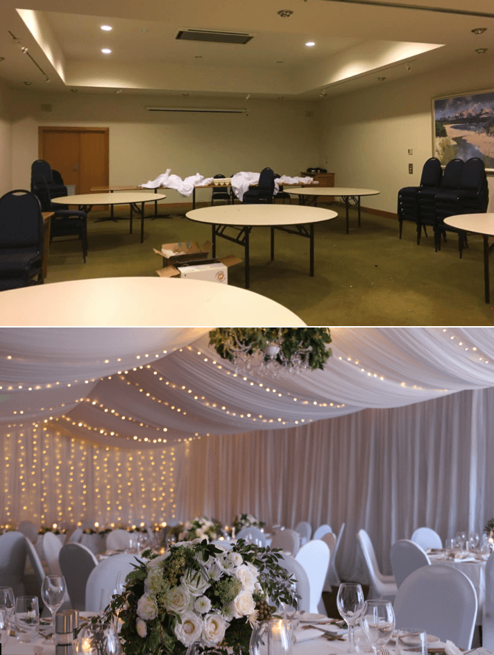 Before After Freycinet Lodge wedding tasmania room draping