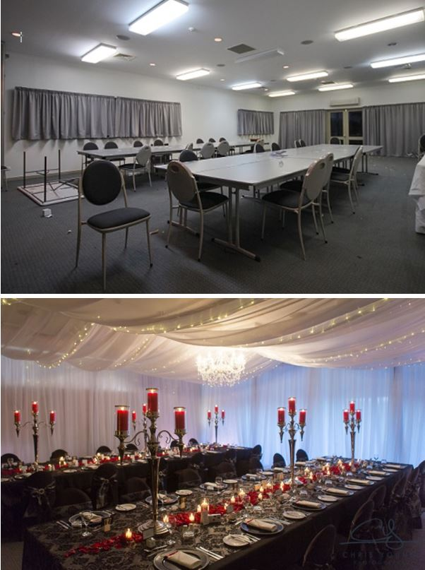 wedding stylist Tamar Valley Resort Enzian Room Transformation Ceiling draping fairy lights Event Avenue before after