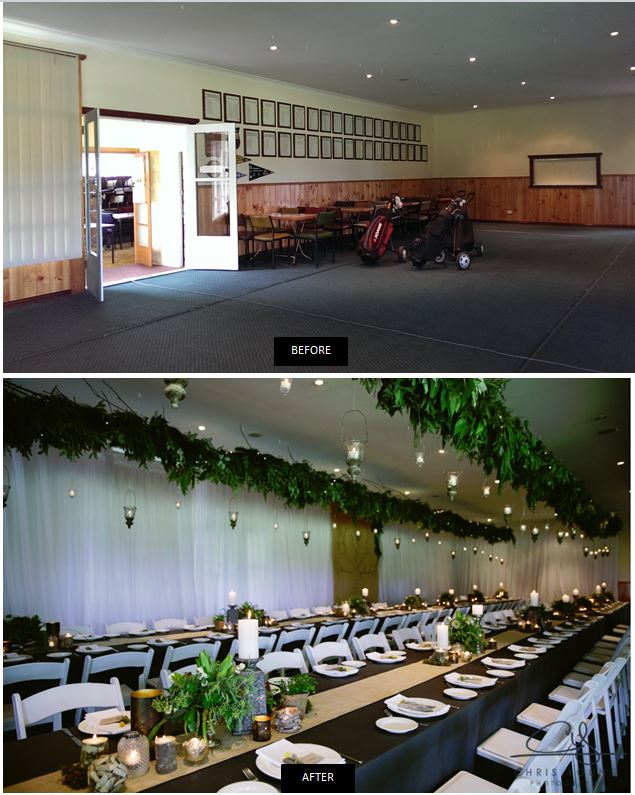 Greens Beach Golf Club wedding enchanted forest event avenue tasmania before after room transformation