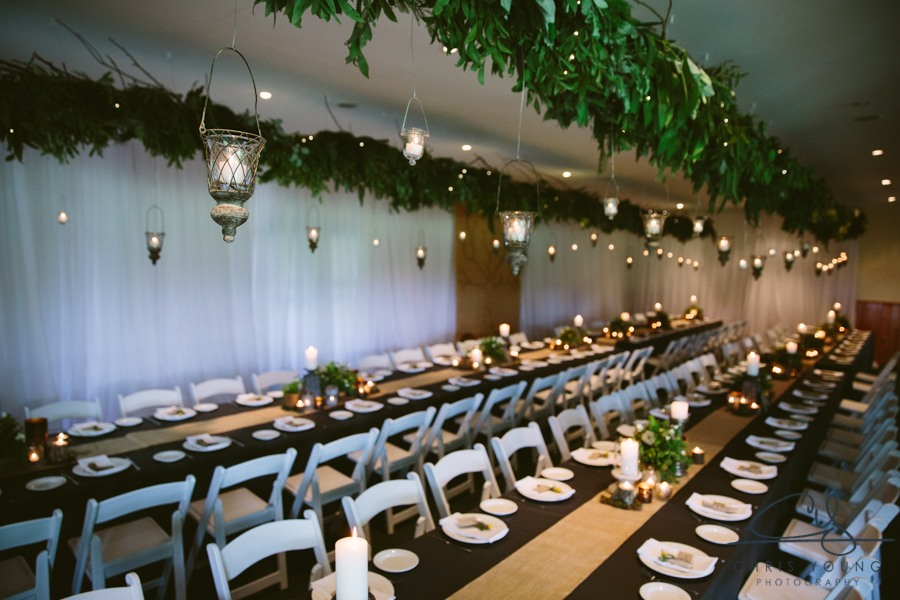Hanging wedding ideas forest woodland long foliage candles fairy lights burlap event avenue