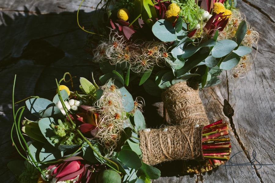 Natural Australian bridal bouquets gum billy buttons leucadendron event avenue foliage
