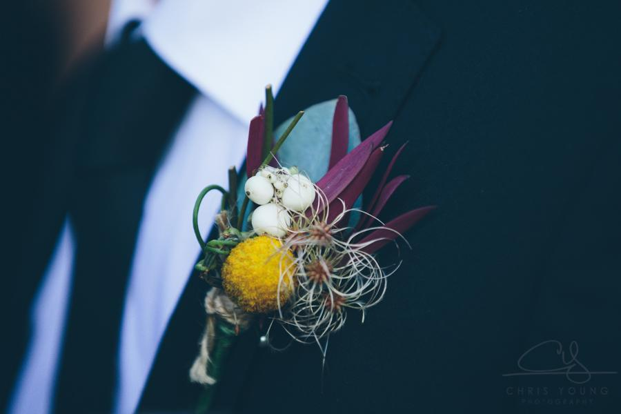 Australian native flower buttonhole wedding billy button event avenue