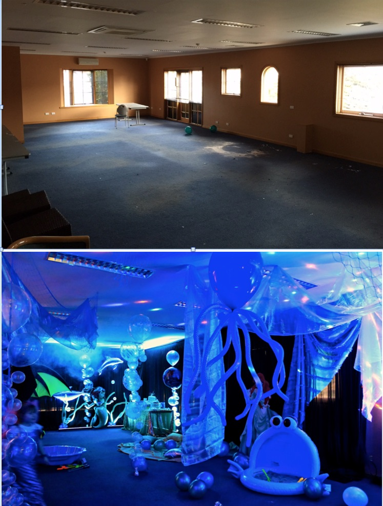 Before After Tamar Valley Resort Birthday Party Under the sea