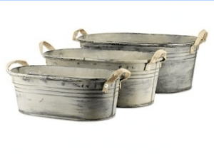 Set of 3 Galvanised Tubs 47cm