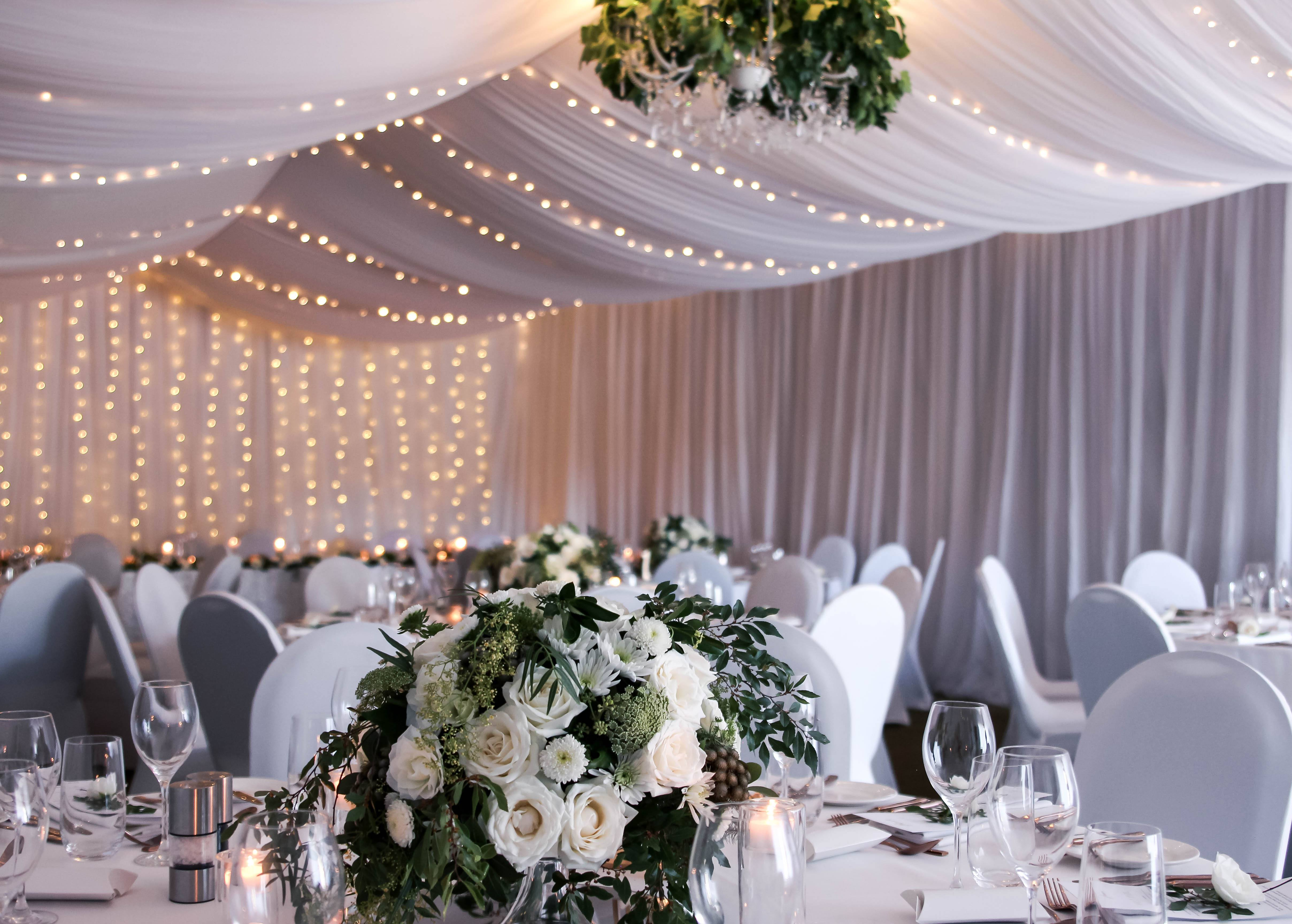 Freycinet wedding room draping fairy lights
