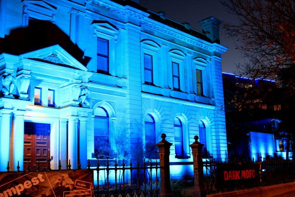 Dark Mofo TMAG Blue building Light Wash