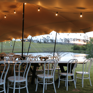 Stretch Tent Jansz white bentwood chair hire tasmania