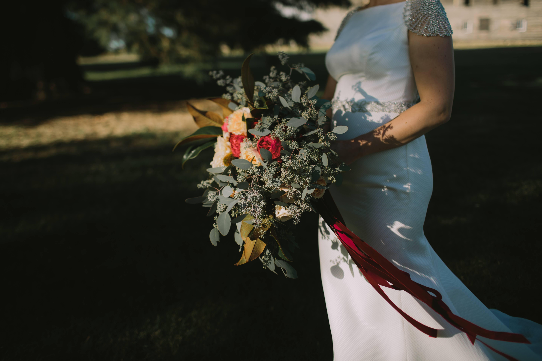 Bridal bouquet natural gum velvet ribbons