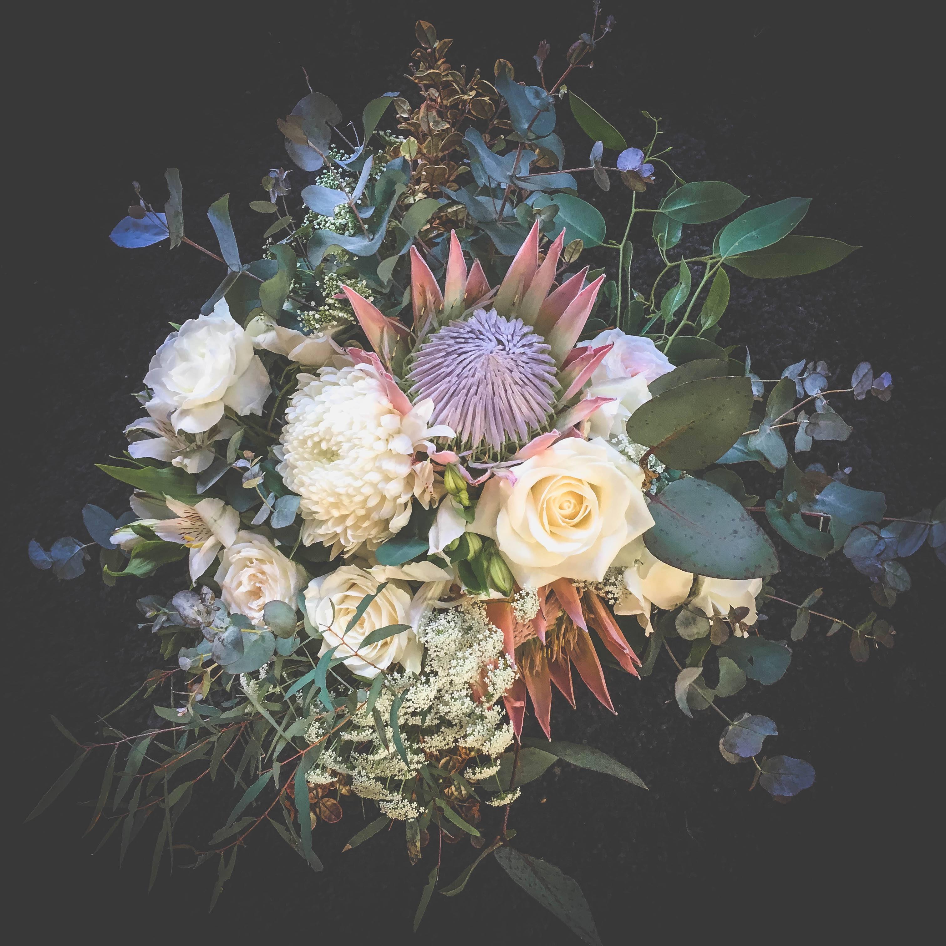 Wedding bouquet floral stylist natives tasmania