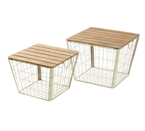 Coffee table set wood Wire