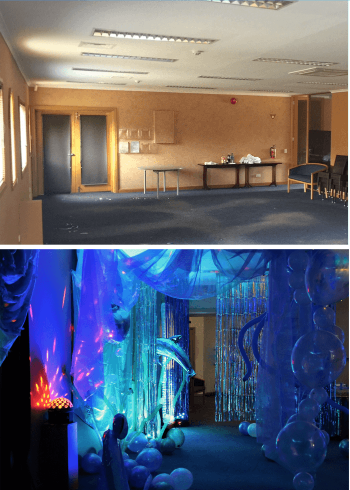 venue room transformation - before and after